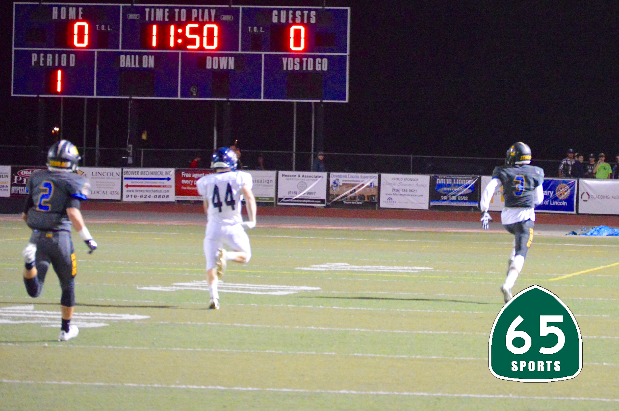 Caleb Kettlehut takes the opening kickoff for an 80 yard TD