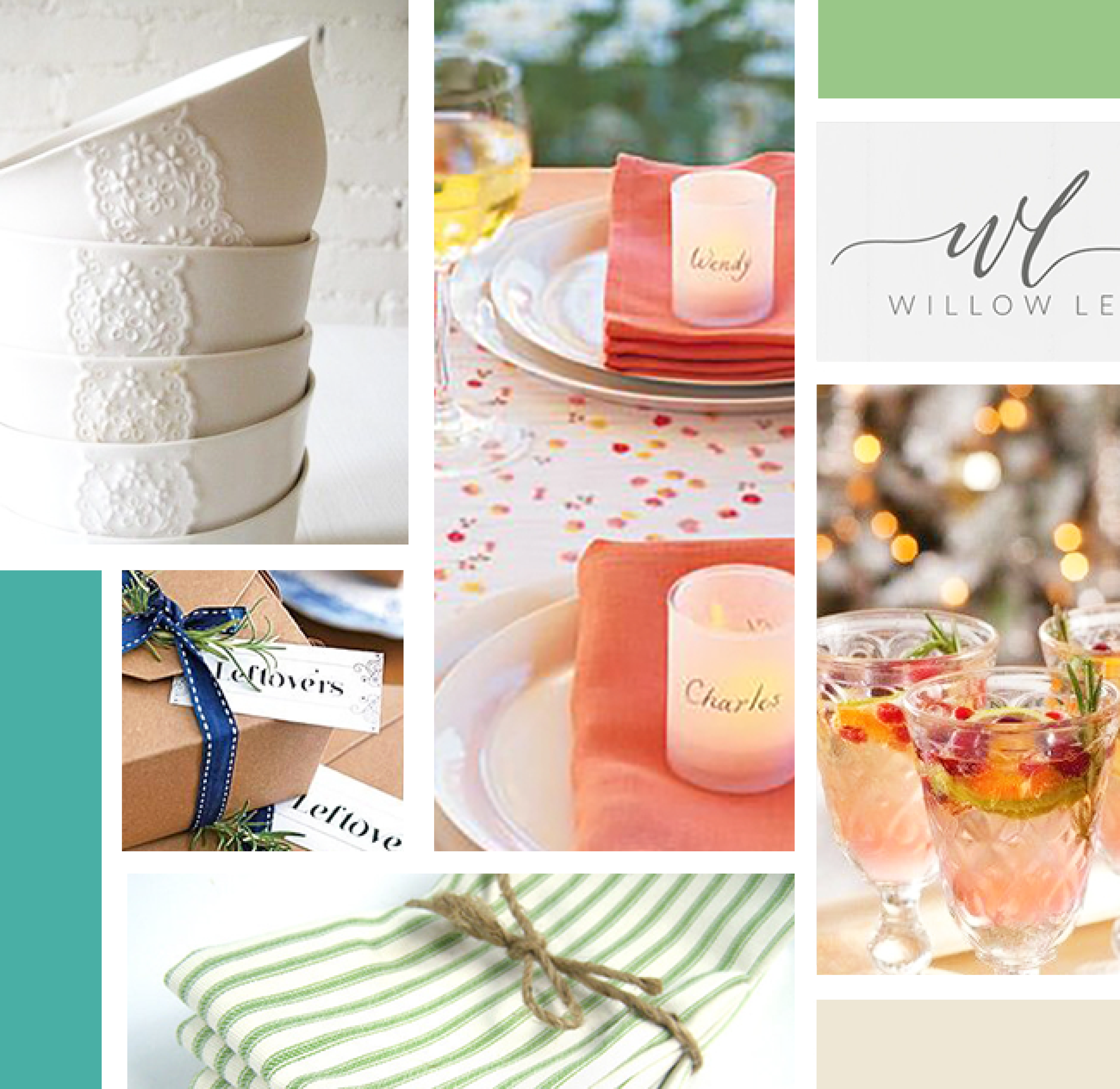 Southern Hostess Mood Board Compiled by AllieMarie Design