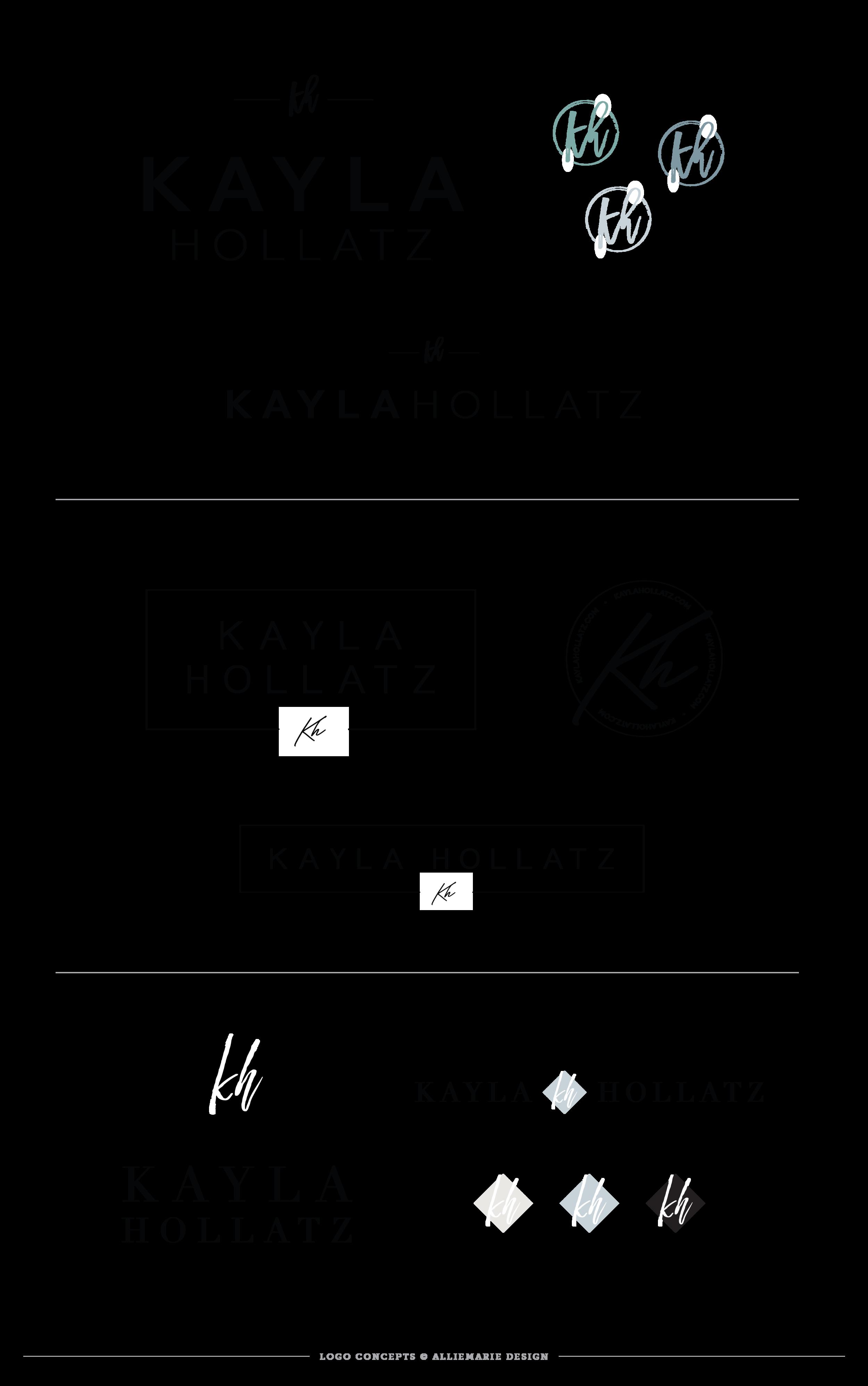 Kayla Hollatz Logo Concept Designs by AllieMarie Design