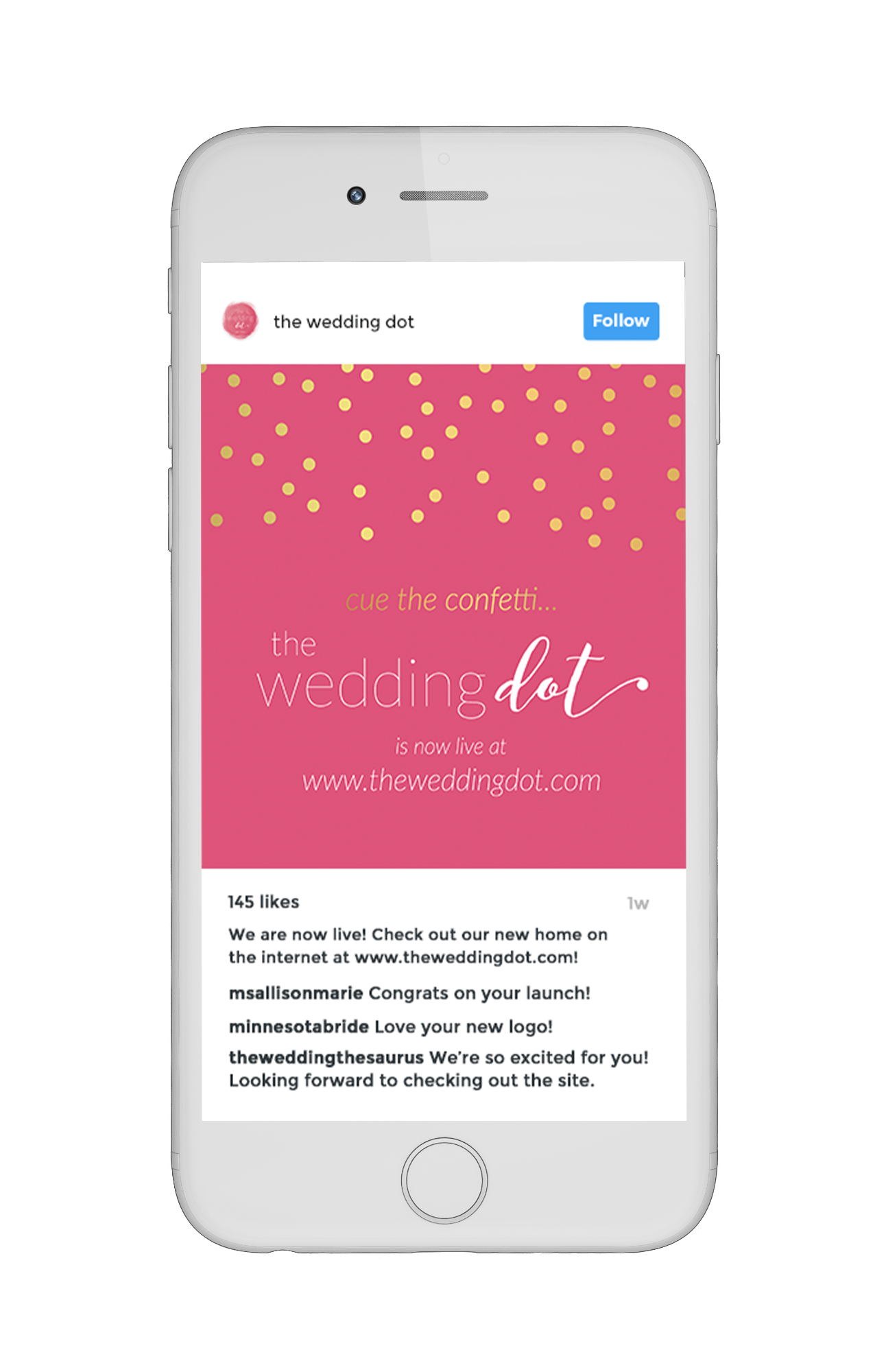 The Wedding Dot Instagram Image Brand Launch Design