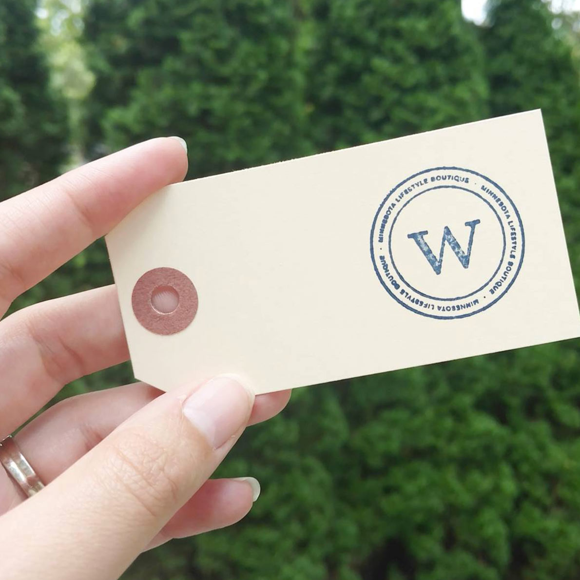 Winnie Lu Minnesota Lifestyle Boutique in Victoria, MN  |  Stamped product tags with watermark  |  Logo Design and Visual Branding by AllieMarie Design