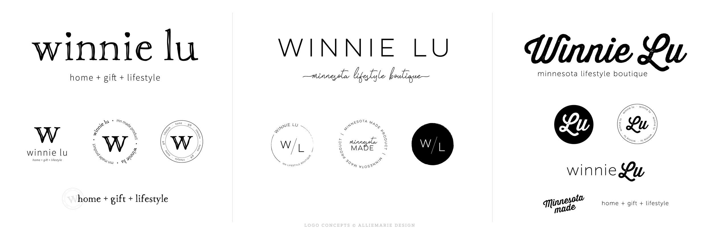 Winnie Lu Minnesota Boutique Logo Concepts by AllieMarie Design