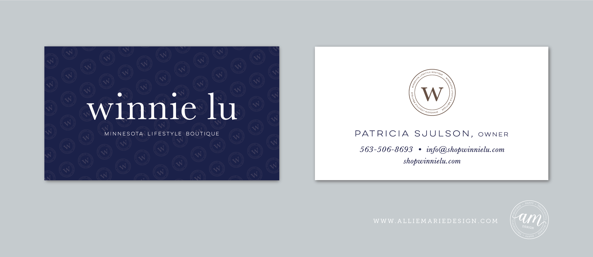 Winnie Lu Minnesota Boutique Business Cards  |  Logo and Visual Branding Design by AllieMarie Design