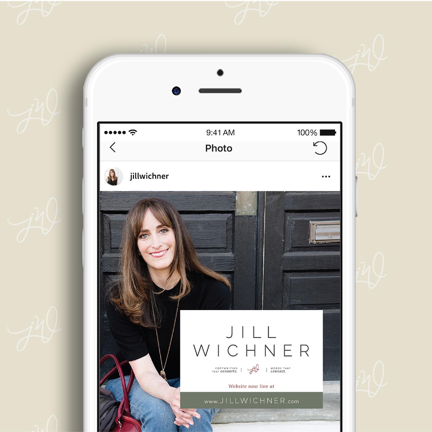Jill Wichner Instagram Brand Launch Graphic | Testimonial for AllieMarie Design