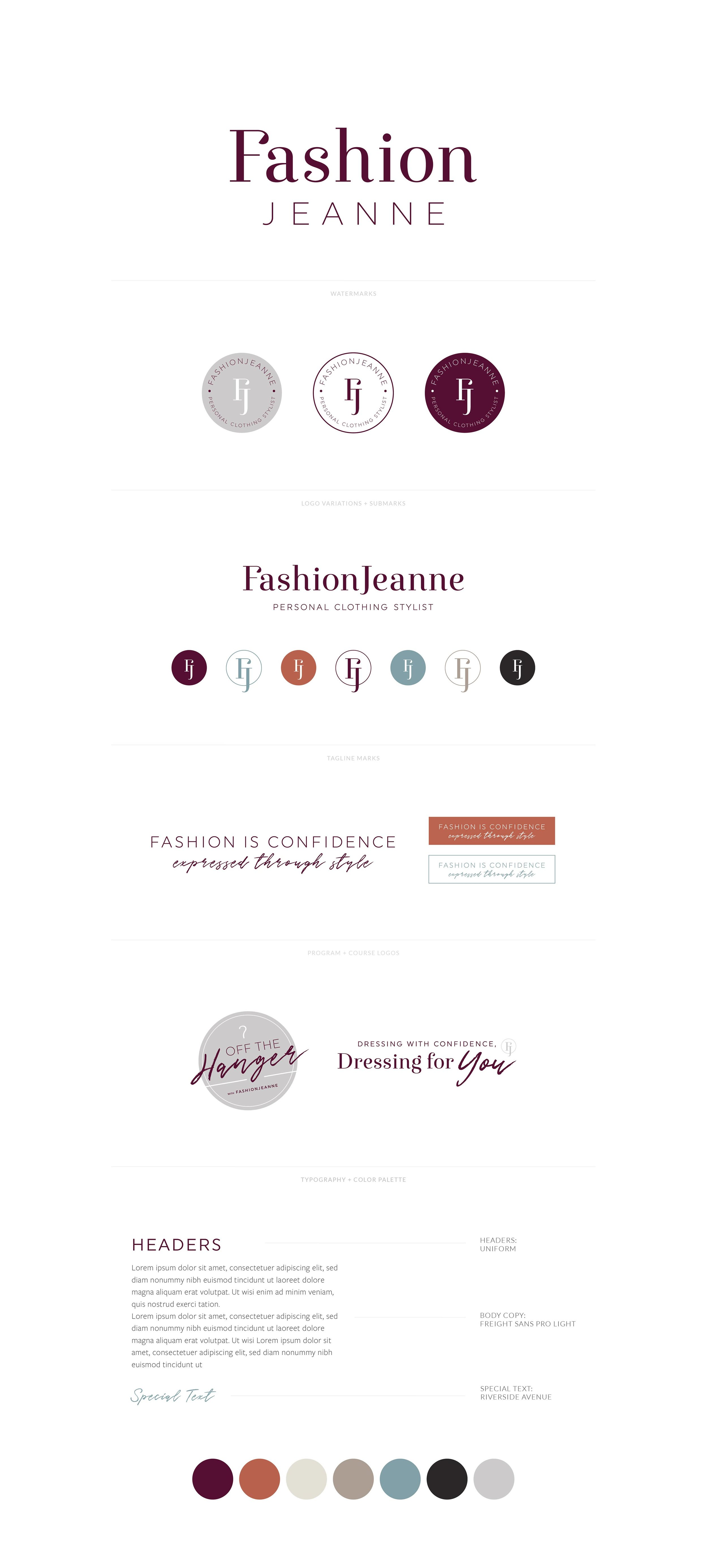 FashionJeanne, Personal Clothing Stylist   Confident, Modern, Timeless Logo, Watermark, Favicon, Tagline, YouTube Channel Logo, Course Logo, Font Styling, Color Palette   Branding by AllieMarie Design