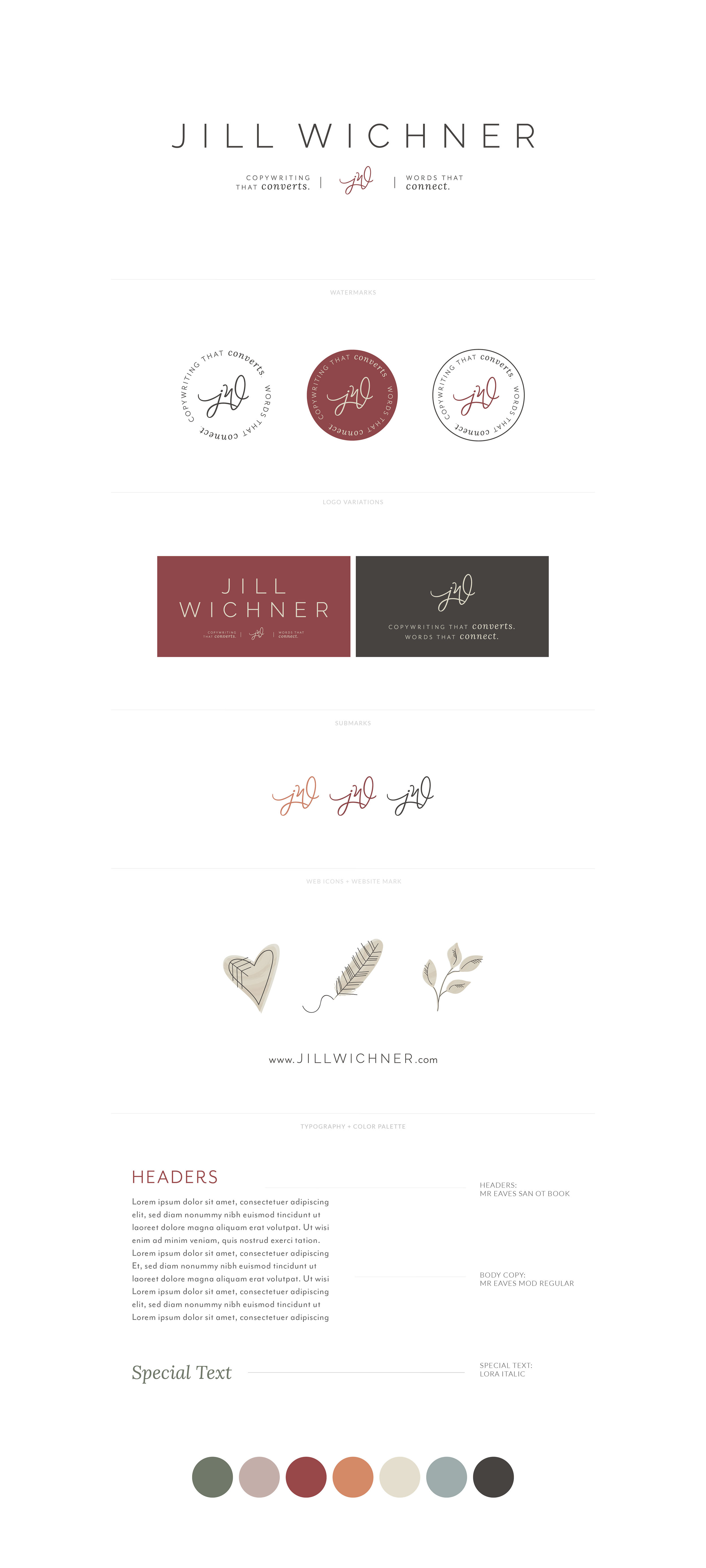 Jill Wichner, Copywriter and Content Creator | Minimalistic and Classic Watermark, Submark, Illustrations, Typography Font Styling, Color Palette | Branding by AllieMarie Design