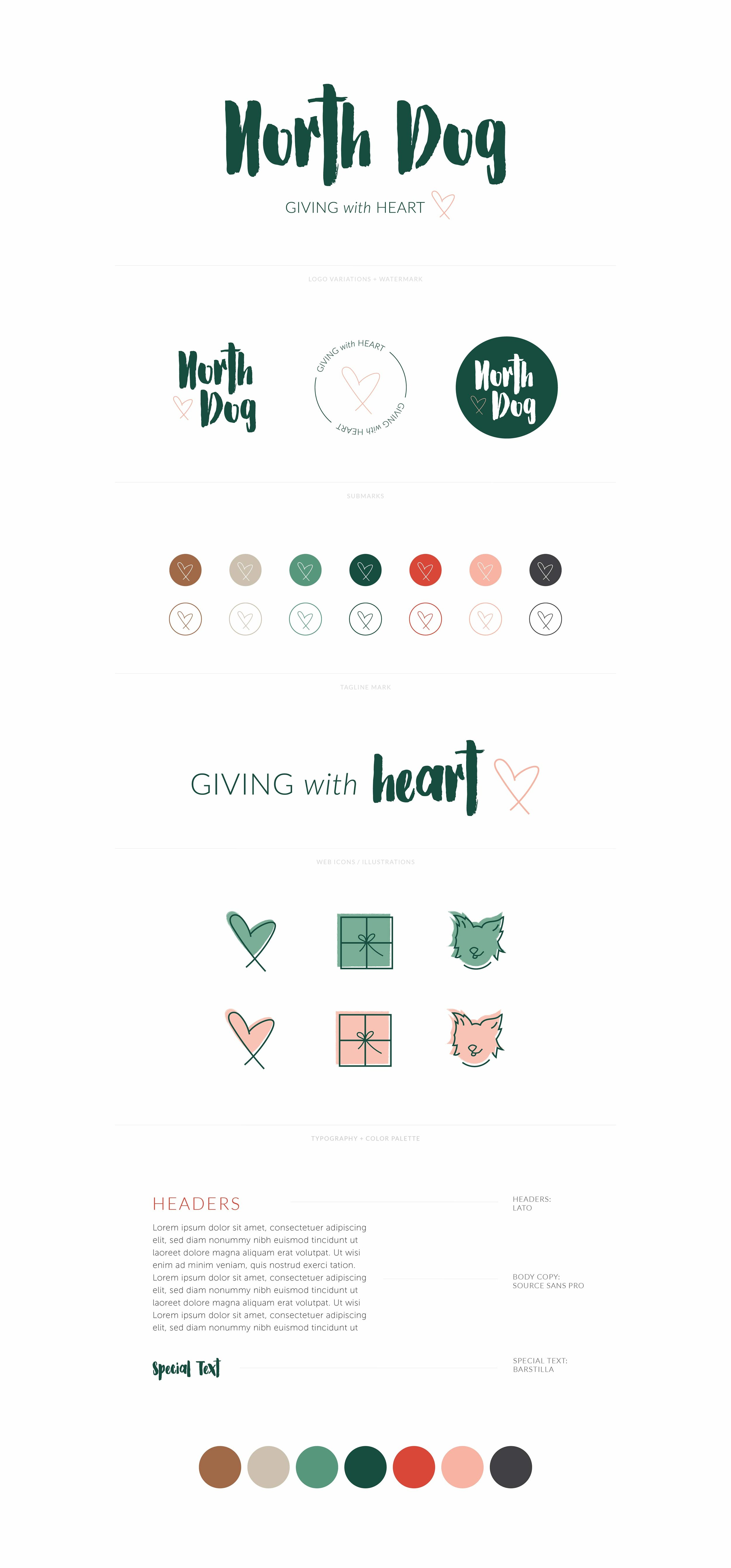 North Dog, Giving with Heart | Fun, Adventurous, Welcoming Logo, Watermark, Favicon, Tagline, Illustrations, Font Styling and Color Palette  | Branding by AllieMarie Design