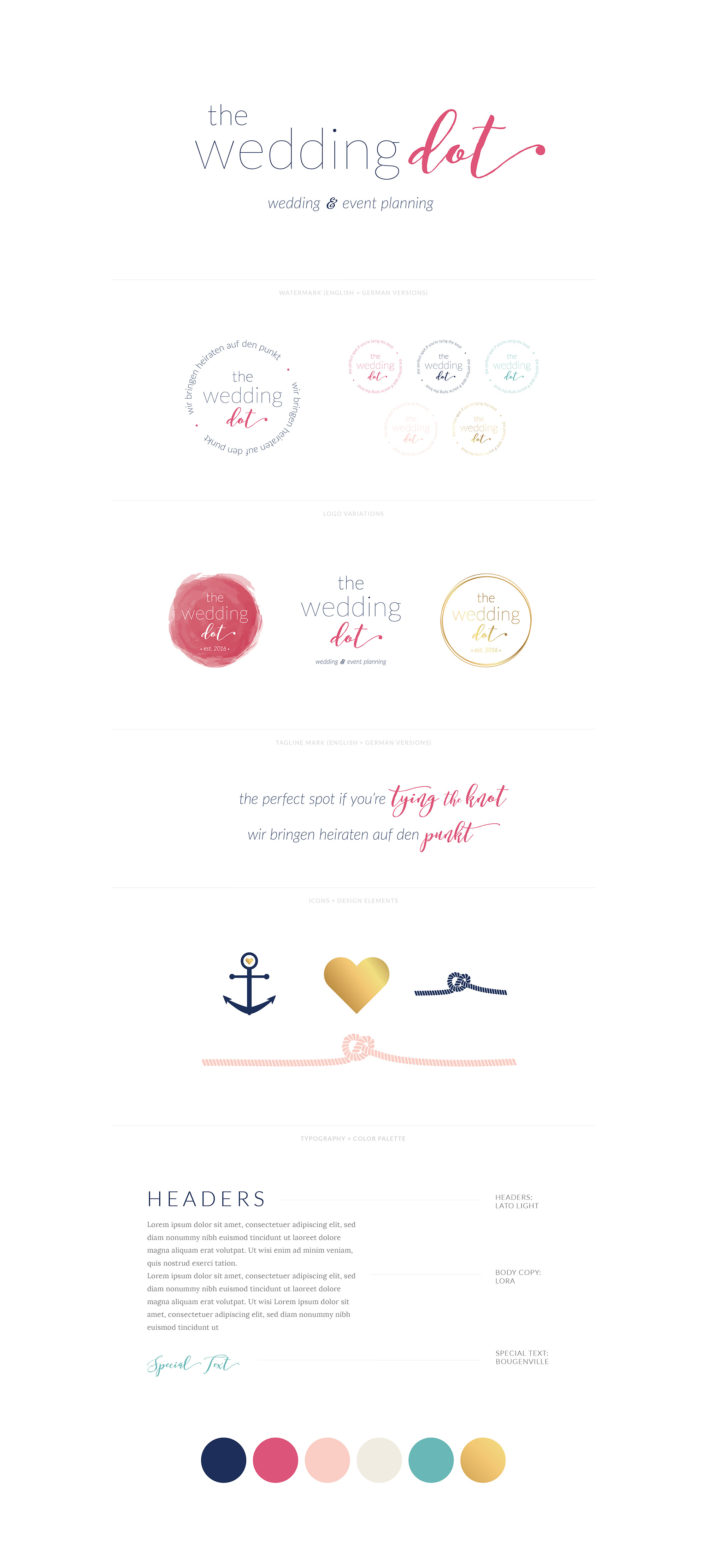 The Wedding Dot | Logo, Watermark, Tagline, Icons and Design Elements, Font Styling, Color Palette  | Elegant, Fun, Personable Branding by AllieMarie Design