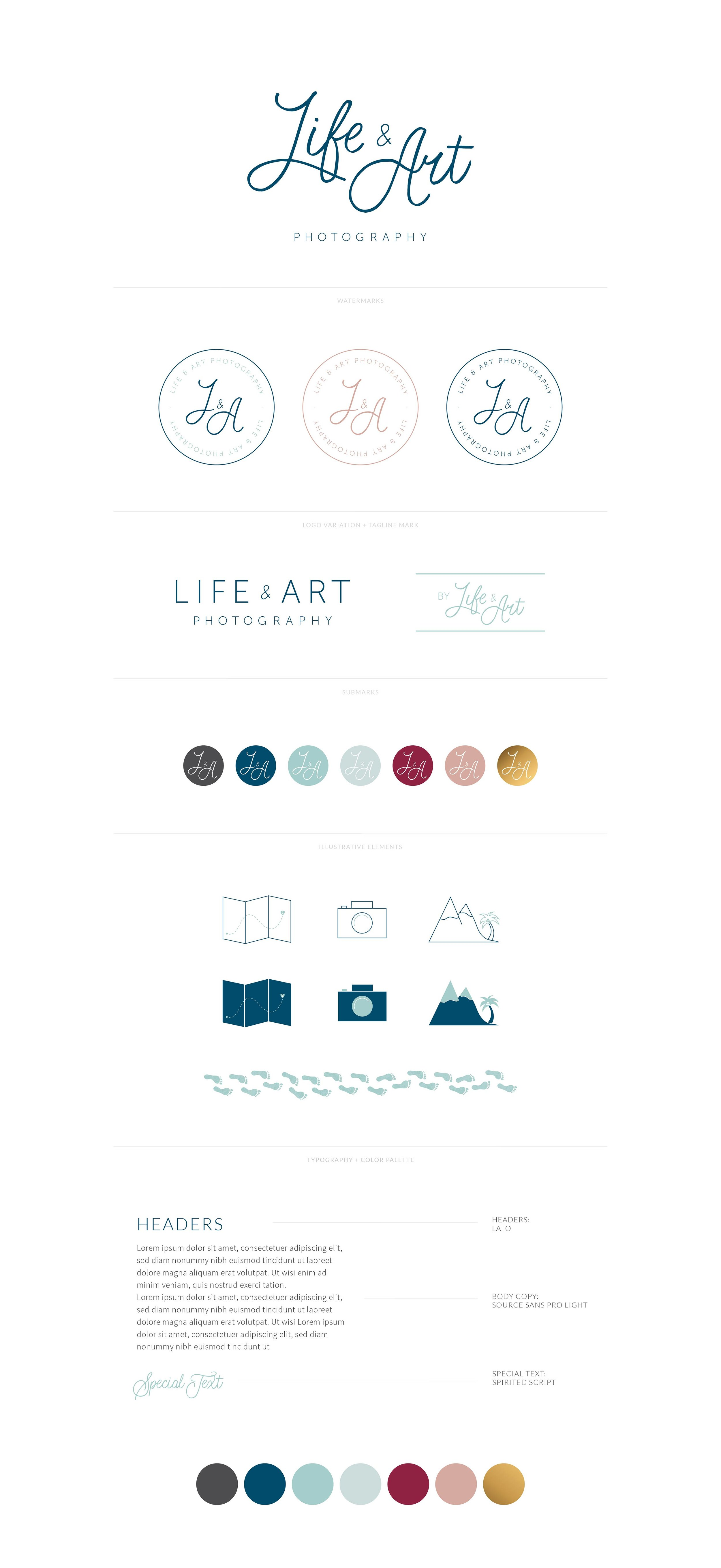 Life & Art Photography | Logo, Watermark, Favicon, Custom Illustrative Icons, Font Styling, Color Palette | Adventurous, Youthful, and Relaxed Wedding Photography Branding by AllieMarie Design