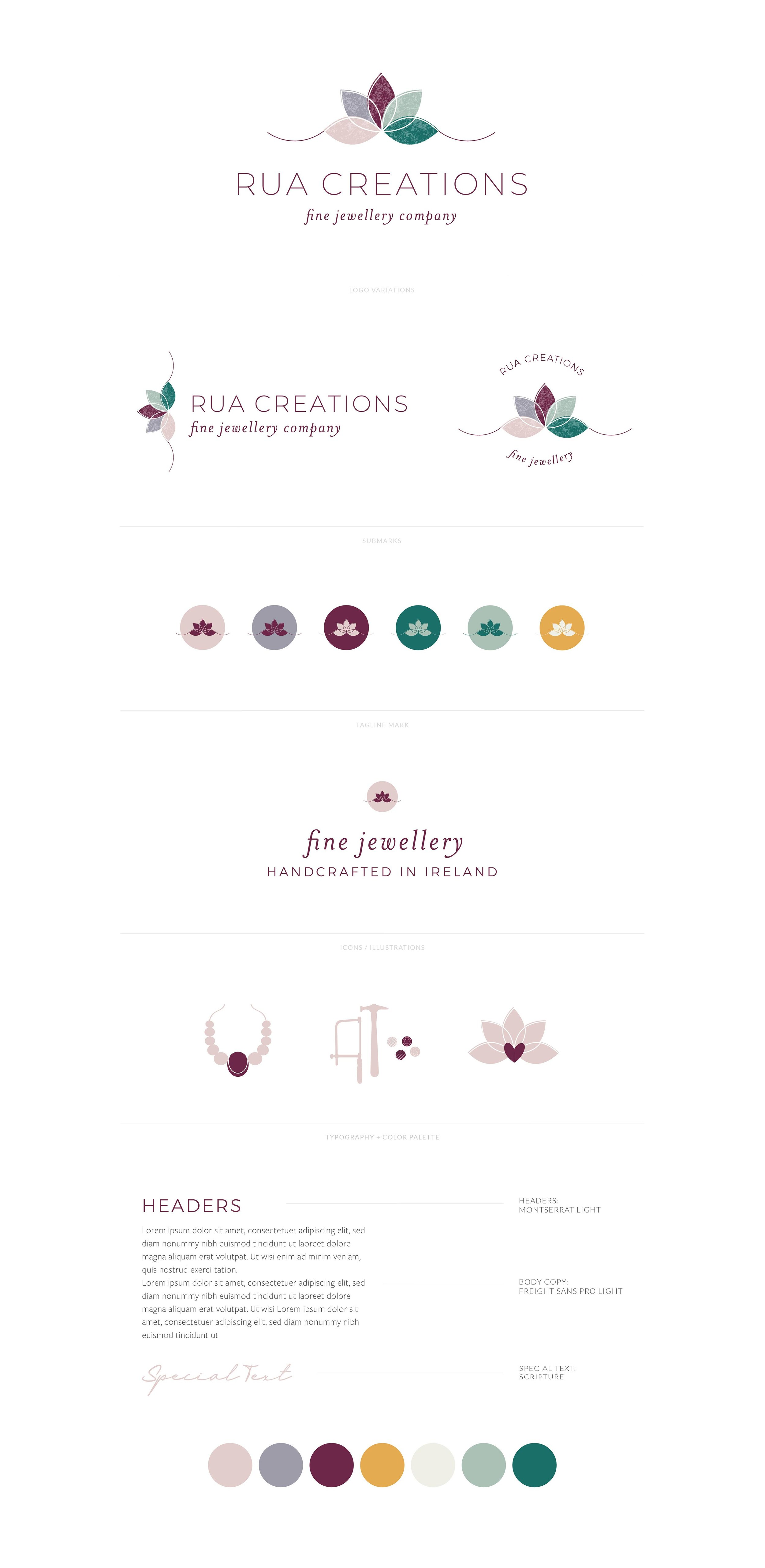 Rua Creations Brand Board | Logo, Favicon, Tagline Mark, Custom Illustrative Icons, Font Styling, Color Palette | Unique, inspired, ethical, feel-good jewelry, handcrafted goldsmith  |  Branding by AllieMarie Design