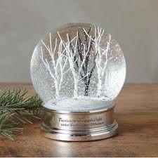 A snow globe with birch trees.