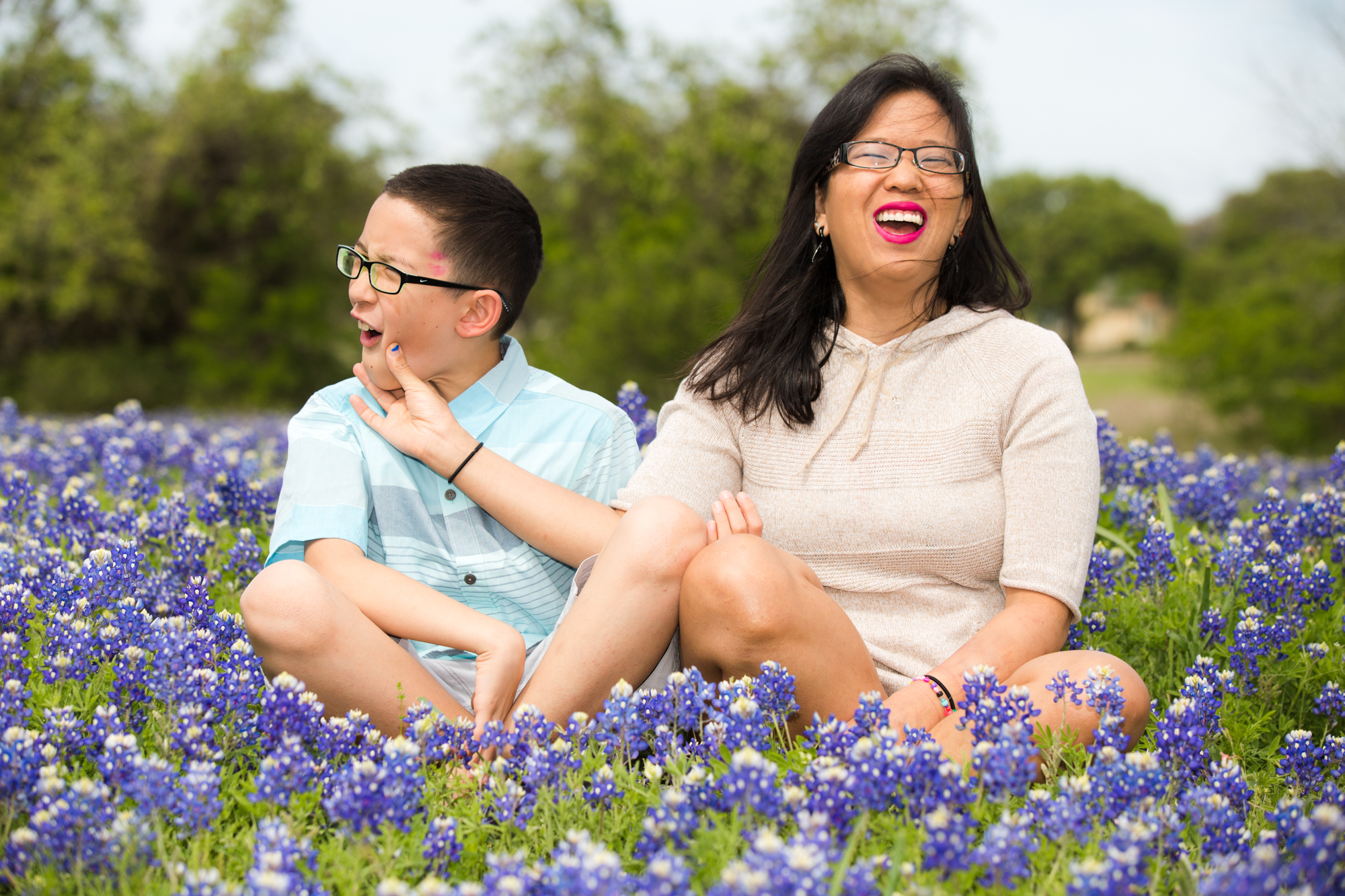 Mother and son antics in the bluebonnets. |  Texas Portrait Photography