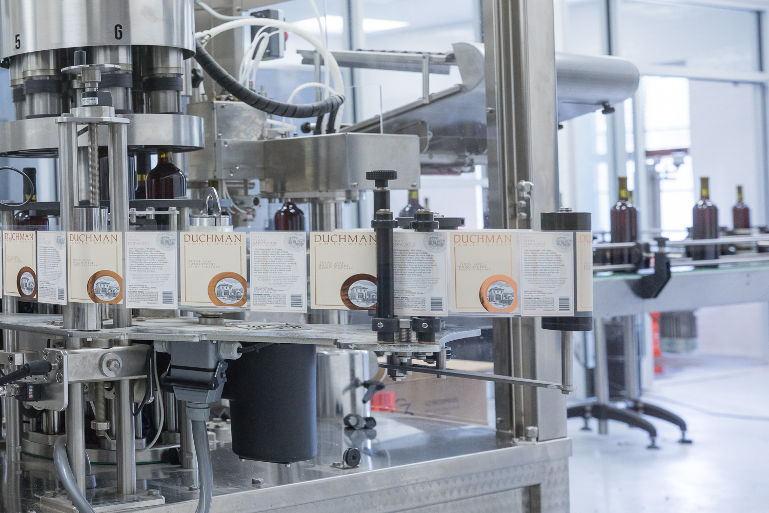 Bottling and Labeling at the Duchman Family Winery