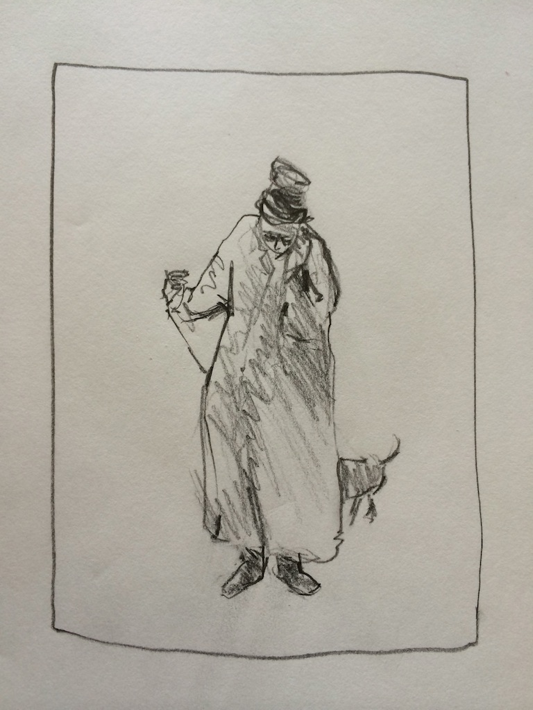 """Lady Walking Her Dog and Her Phone:  Graphite 9X12"