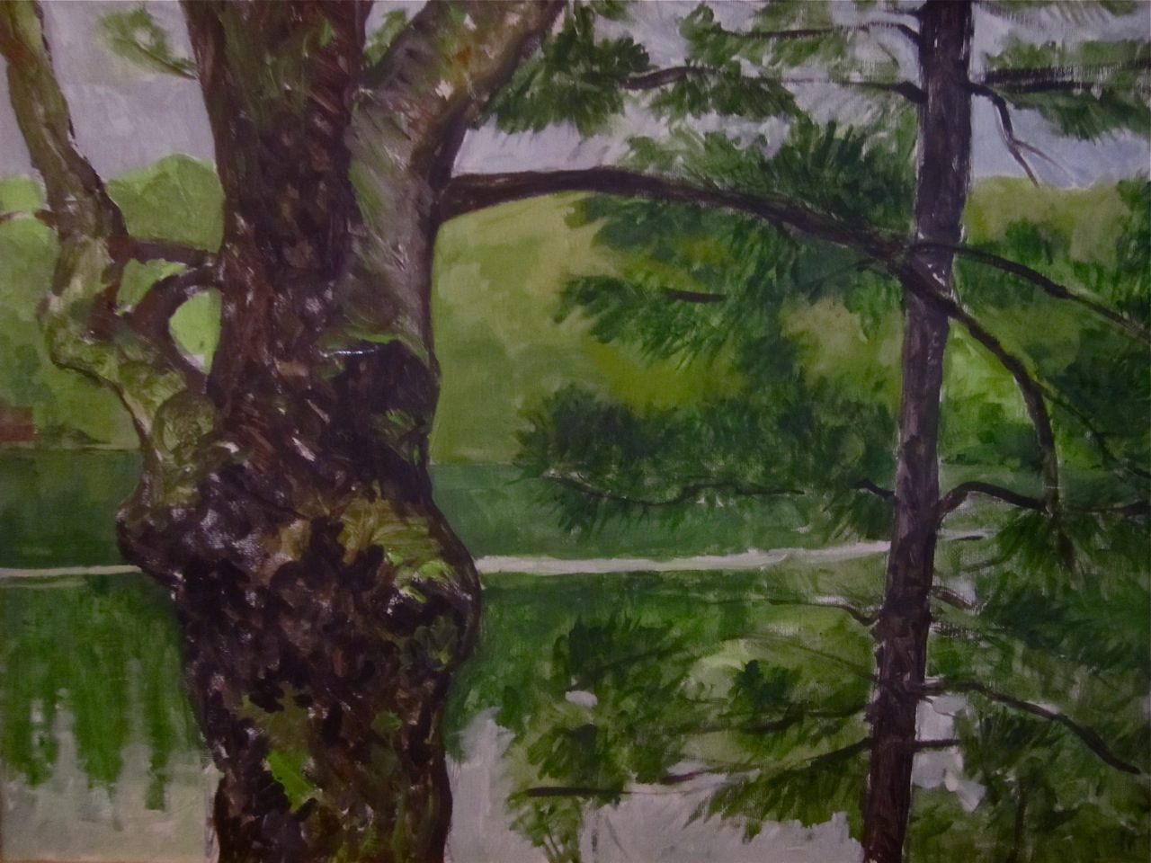 """Spring Trunks on Thomas Pond""  Acrylic 18X24"