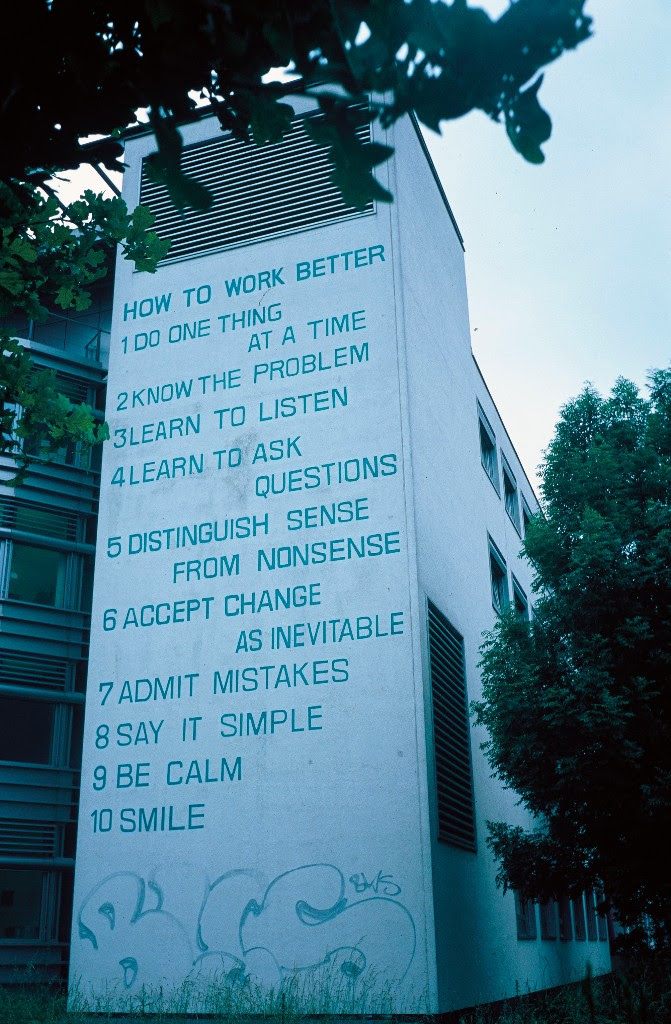 Peter Fischli David Weiss,  How to Work Better  (1991) Houston and Mott Streets NYC, January 2016 / Photo: Jason Wyche, Courtesy Public Art Fund, NY