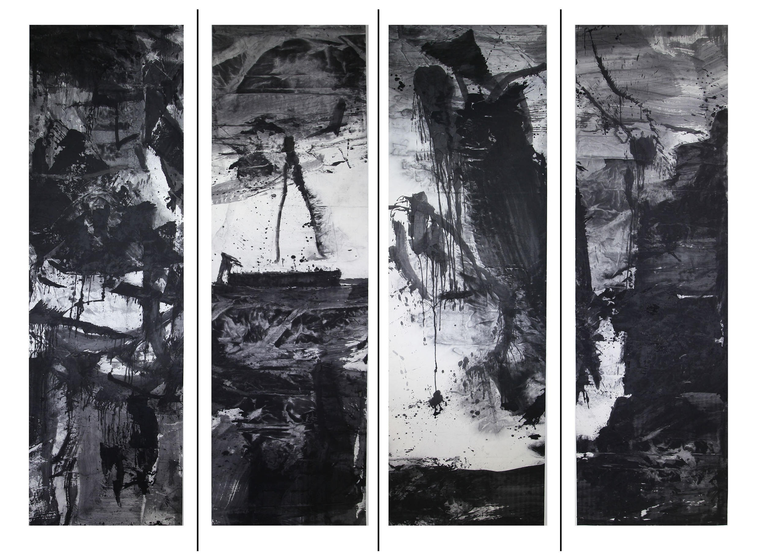 7 - Artwork high-res - Ink Monument - installation - 5 meters x 1 meter - ink on rice paper - four-sided column.jpg