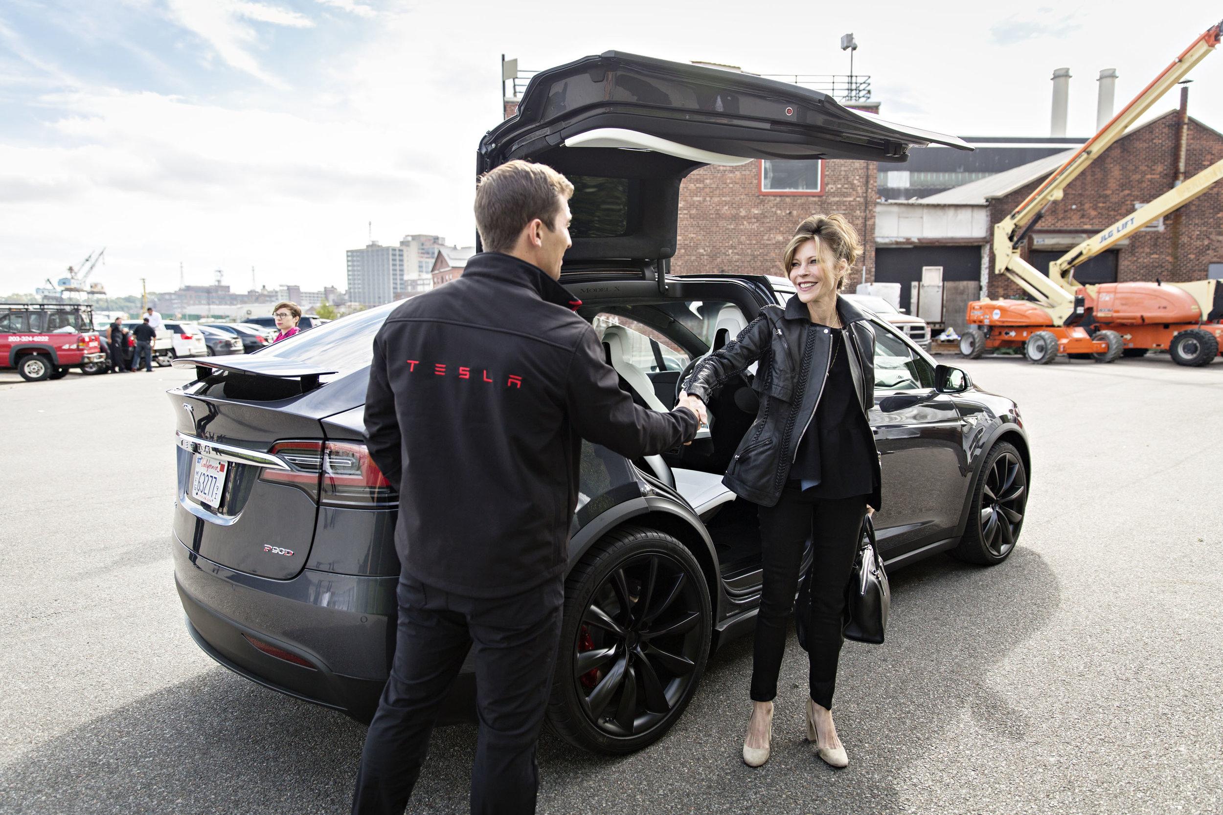 Robbie Meyers testing the Tesla car