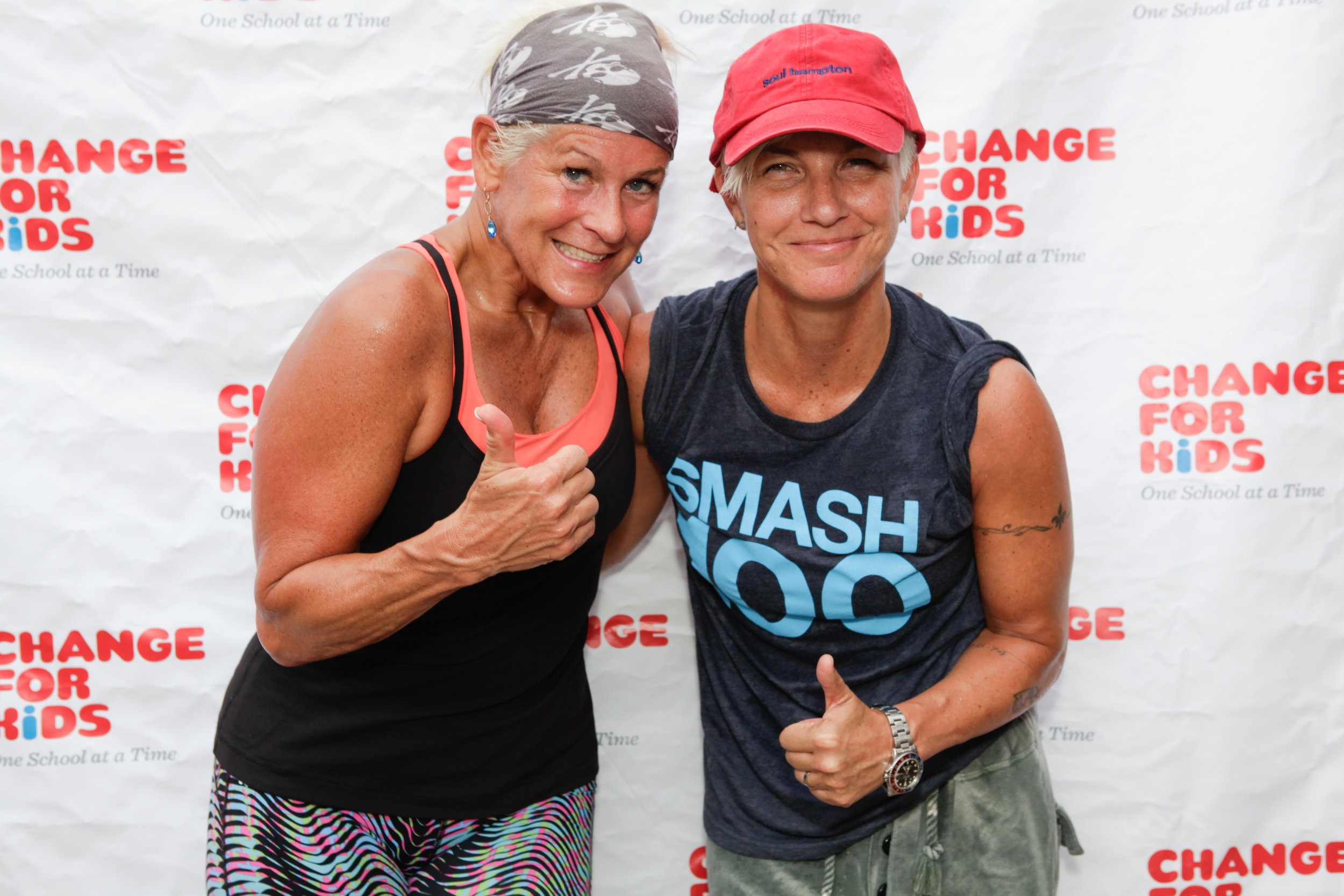 Louise Phillips Forbes (left),  host of the 6th Annual Hamptons Ride for   Kids  to benefit   Change  for   Kids, with Stacey Griffith of Soul Cycle