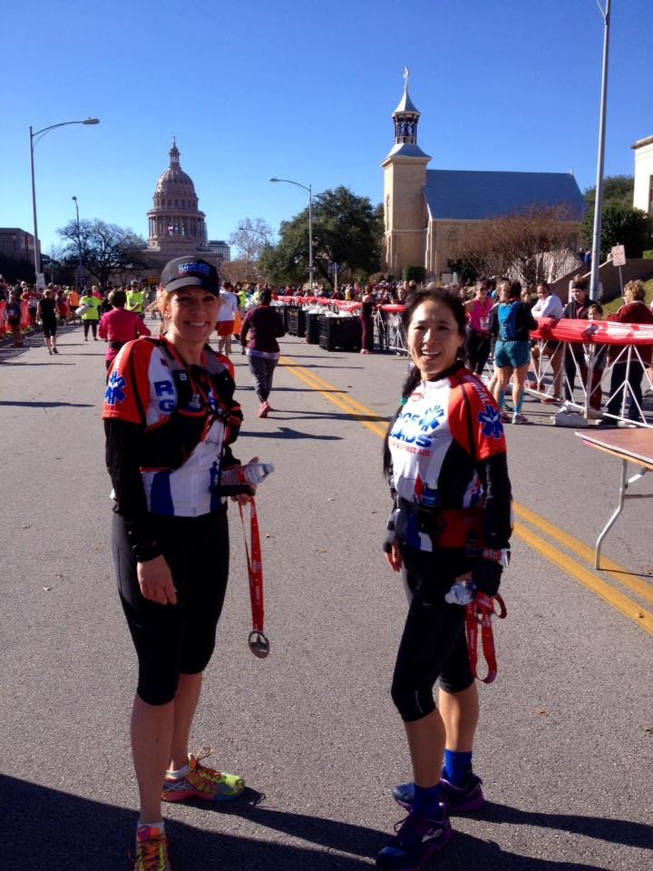 Rebecca (left) and Annabel at the 3M Half Marathon in Austin