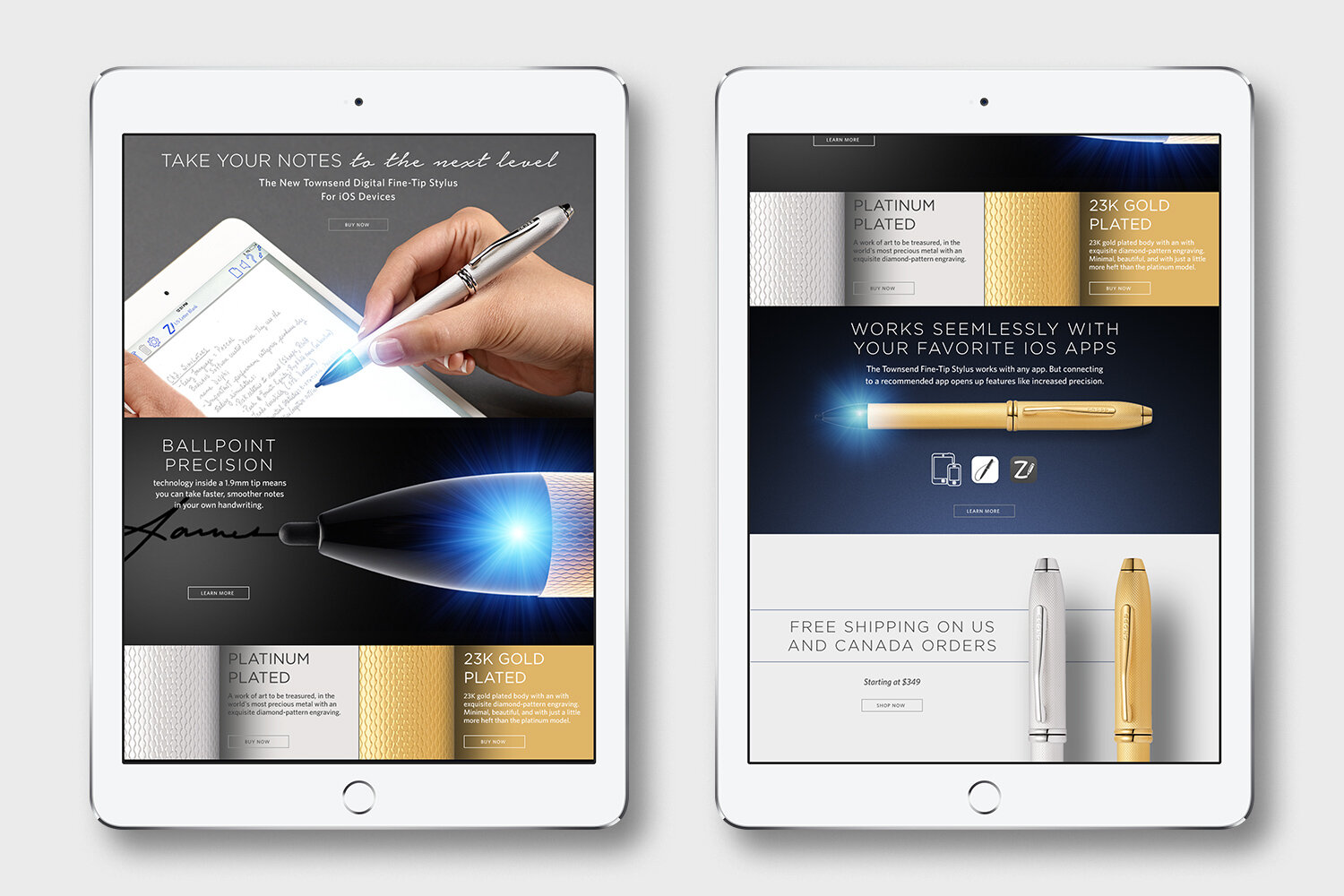 Landing page design for the Cross Townsend Stylus.
