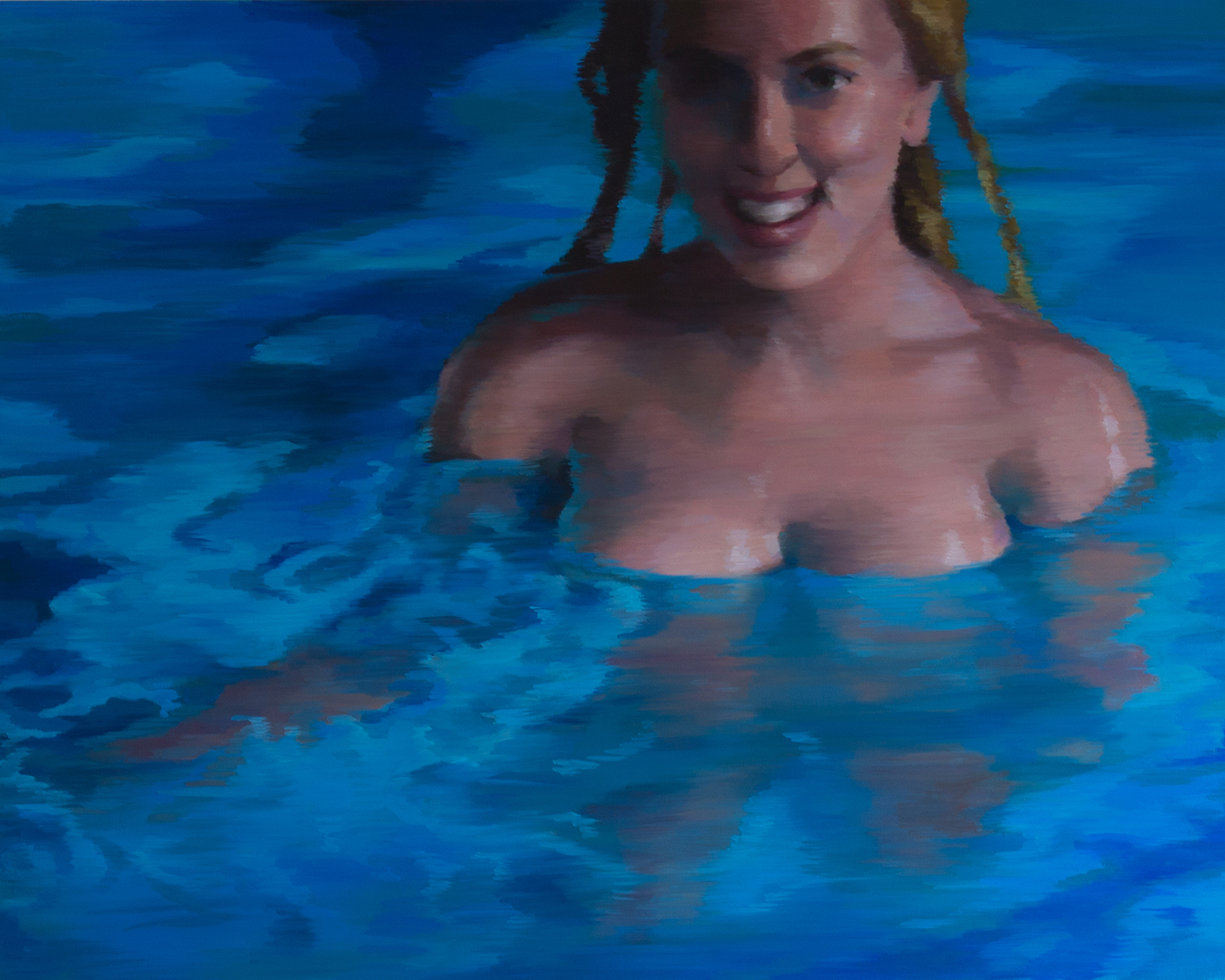 "Soaked   (Scarlett Johansson)   oil on wood  15.75"" x 19.75,"" 2014"