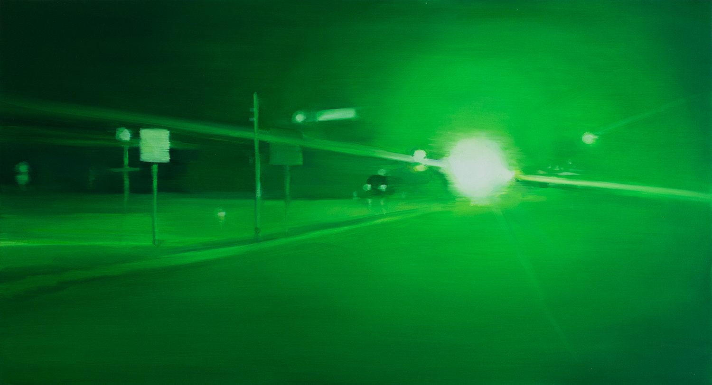 "Night Vision I   oil on wood  13"" x 24,"" 2015"