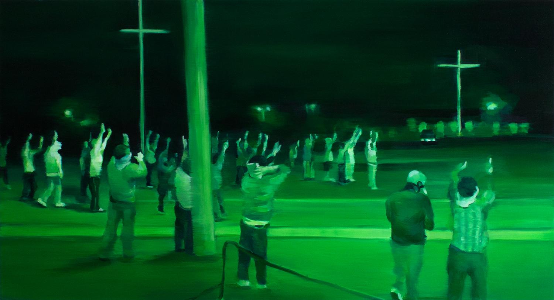 """Night Vision II   oil on wood  13"""" x 24,"""" 2015"""