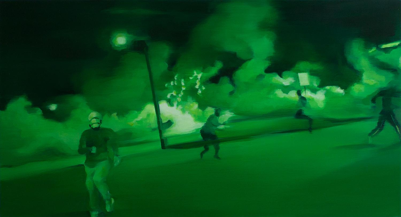 """Night Vision IV   oil on wood  13"""" x 24,"""" 2015"""