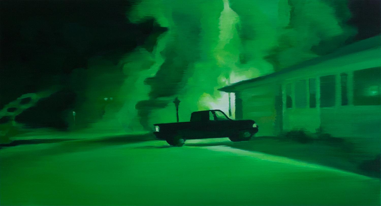 "Night Vision V   oil on wood  13"" x 24,"" 2015"