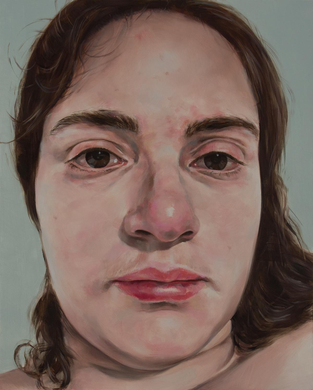 "Anti-Selfie (Self-portrait III)   oil on wood  20"" x 16,"" 2015"