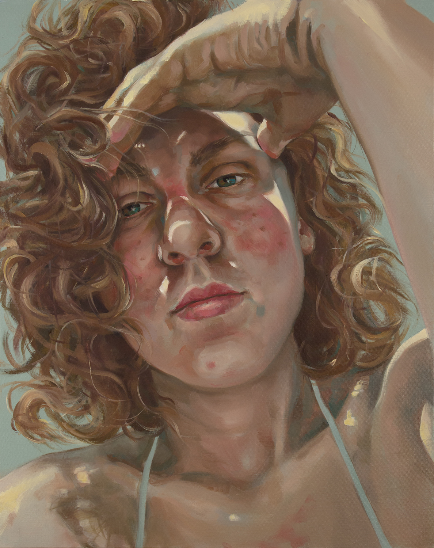 "Anti-Selfie (Cailin)   oil on linen  30"" x 24,"" 2015"