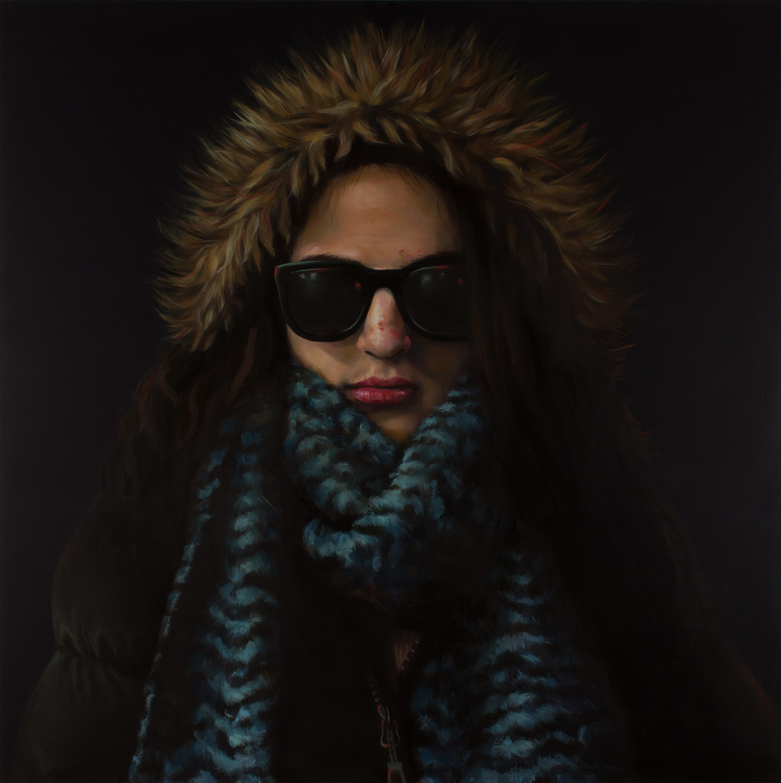 "Anti-Selfie (Self-portrait II)   oil on wood  36"" x 36,"" 2015"