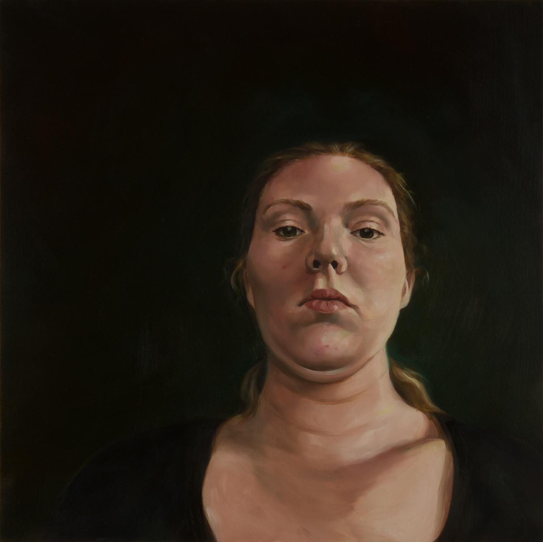 "Anti-Selfie (Clare)   oil on wood  18"" x 18,"" 2015"