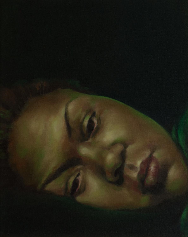 "Anti-Selfie (Amber)   oil on canvas  20"" x 16,"" 2015"