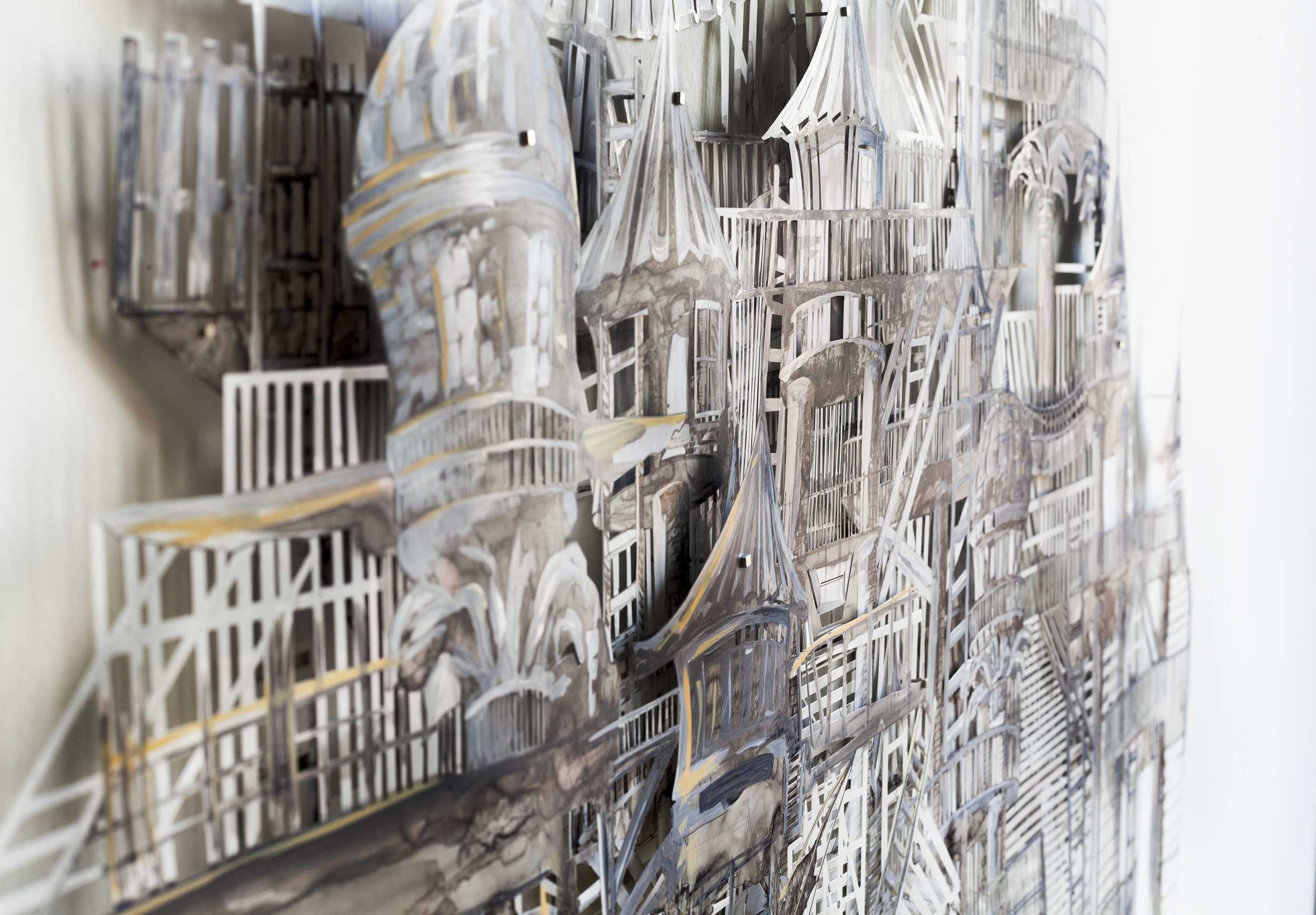 "Thin City  (Detail), 2015 Acrylic and Ink on Cut Mylar, 44""x 33"""