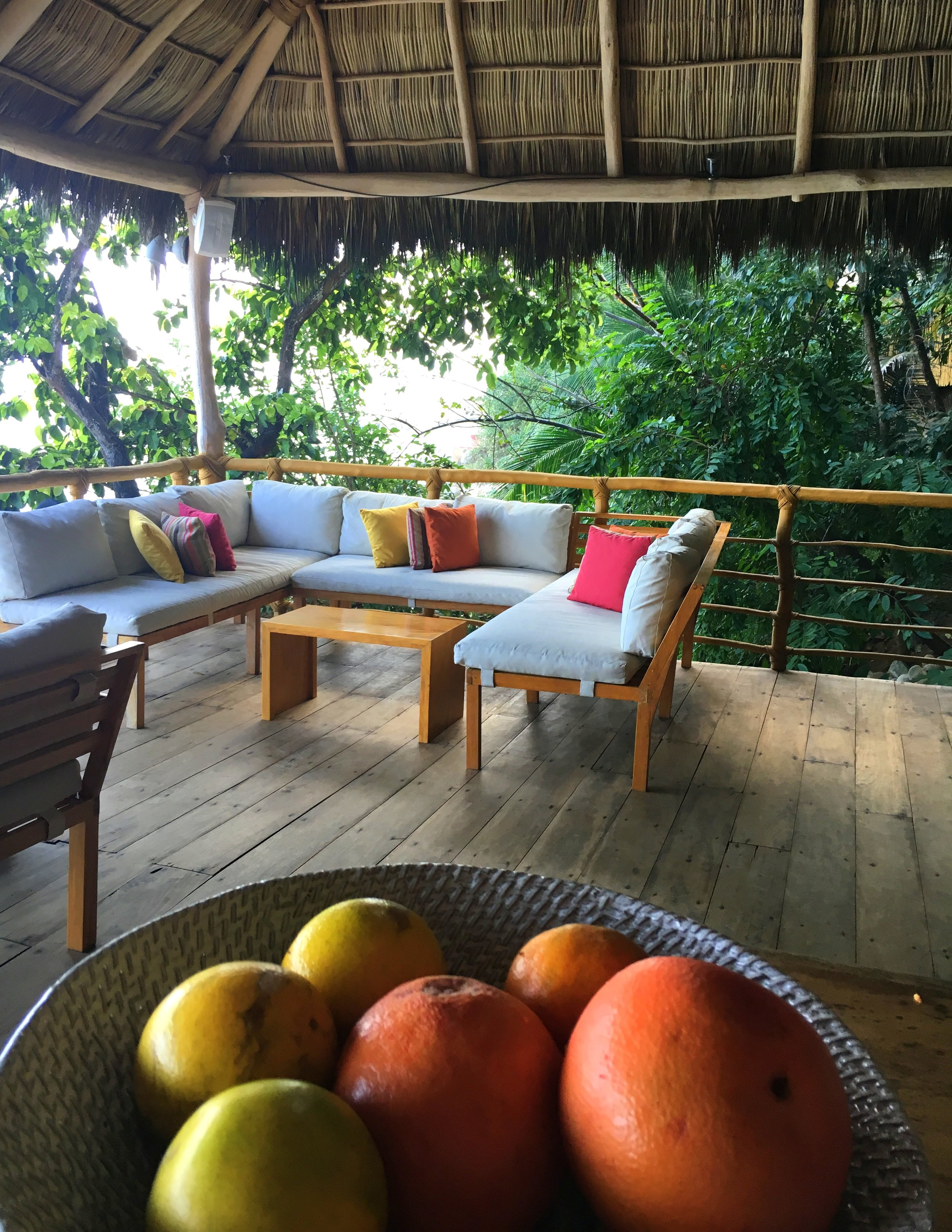 The Bar Lounge at Xinalani Retreat... always an abundance of fresh fruit and a pretty place to relax.