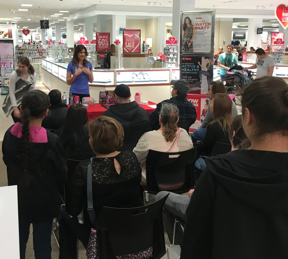 Chatting with local shoppers at JCPenney