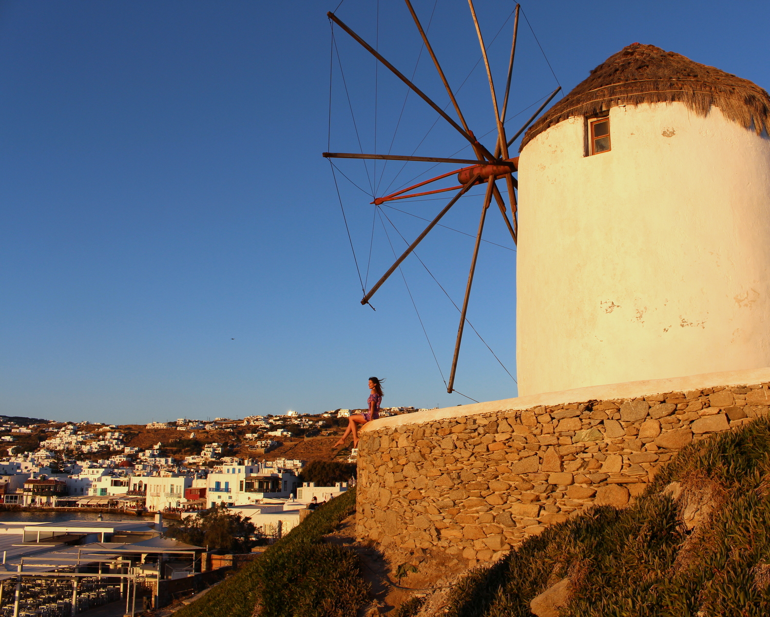 Sunset by the Chora Windmills