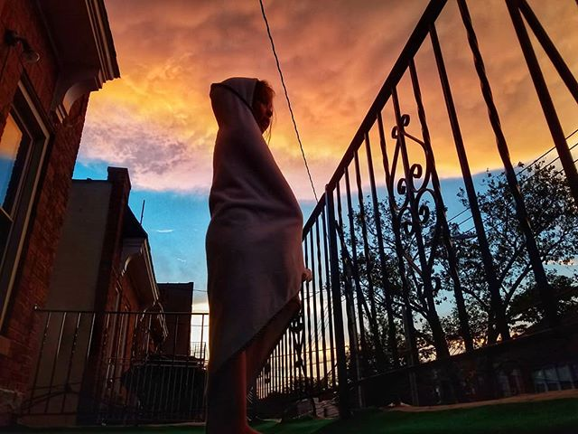 """Aure: """"How does the sky make them."""" Me: """"The what?"""" Aure: """"The clouds."""" [Beams. Takes deep breath.] #daughter #ACD #delchuas #brooklyn #sunset #futurescientist"""