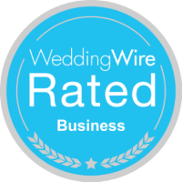 badge denoting a WeddingWire Rated Business
