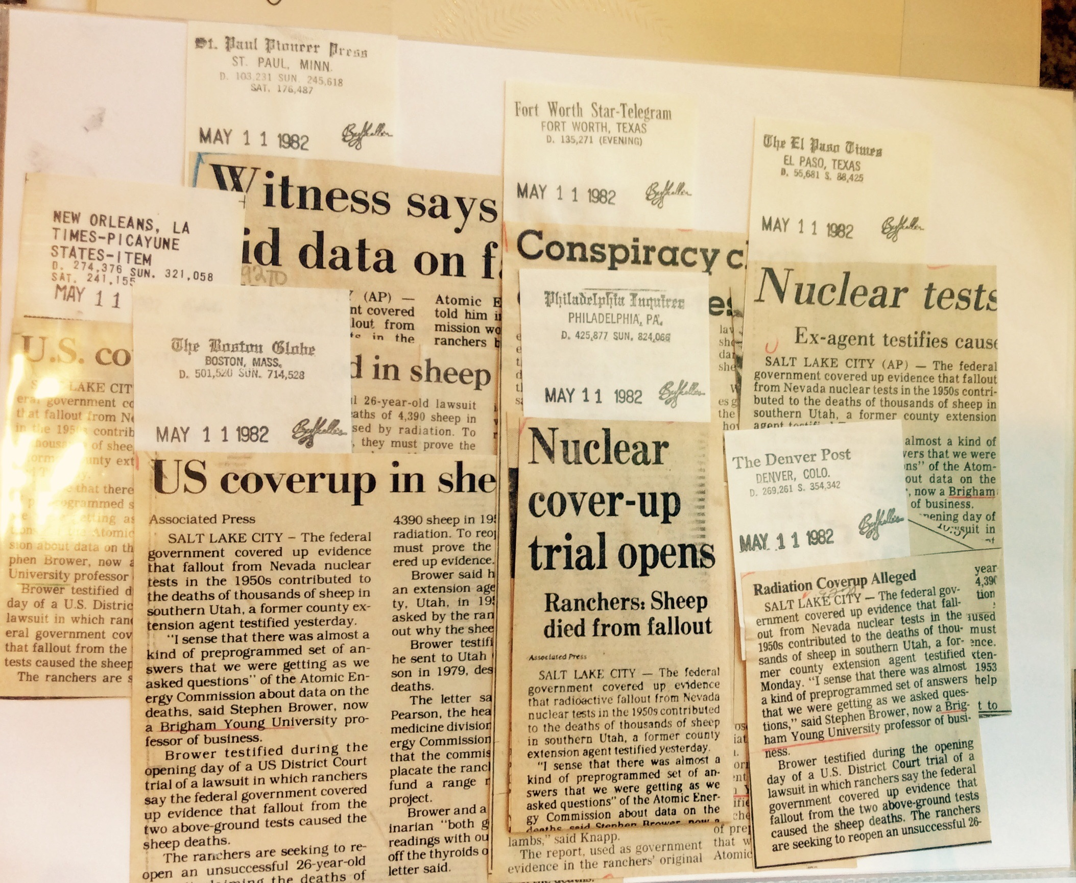 Press clippings from around the nation Brower saved in his files.