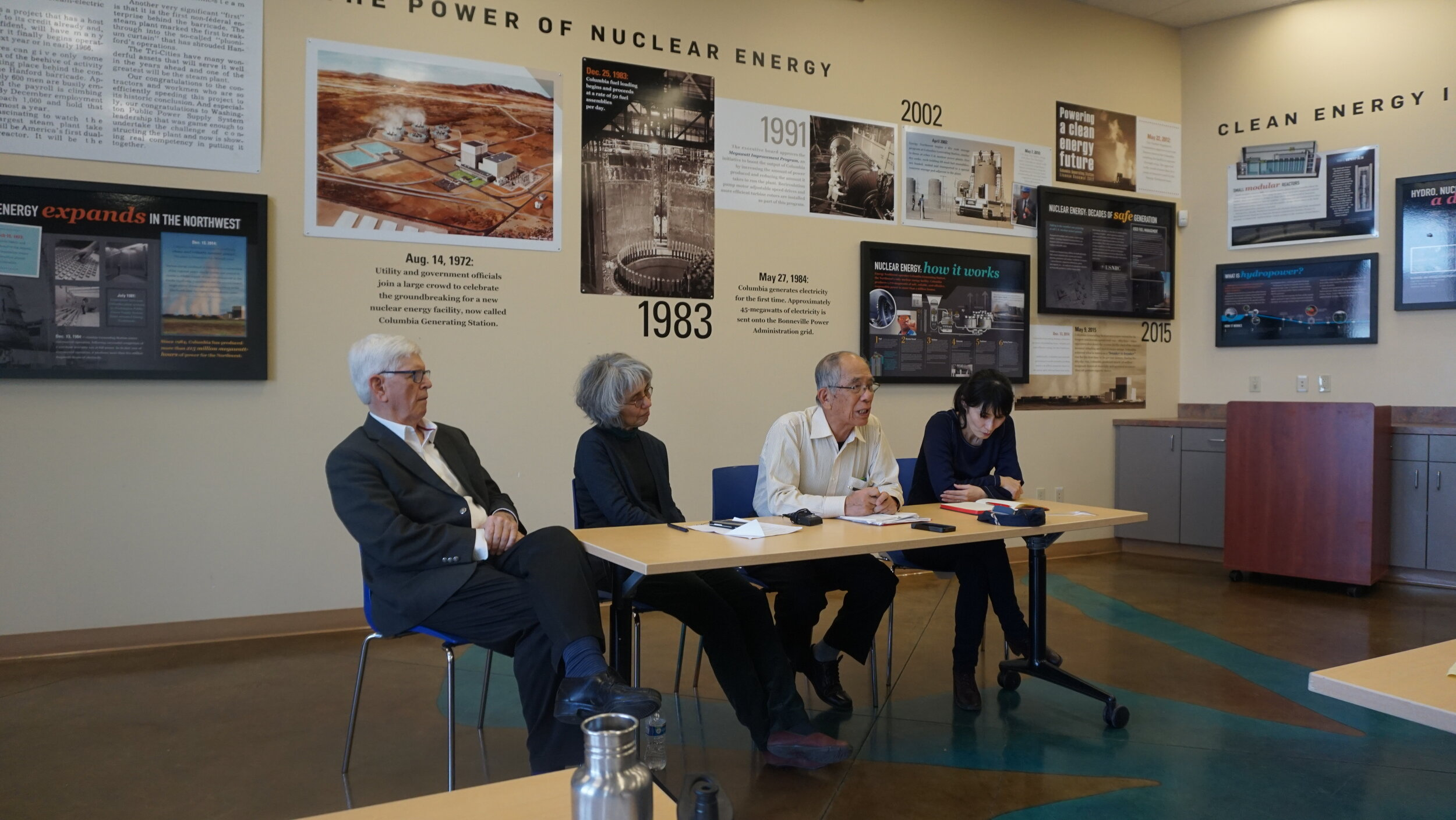 """Hanford downwinder activist Tom Bailie, Dr. Norma Field, Nagasaki hibakusha (atomic bomb survivor) and activist Mitsugi Moriguchi, and Dr. Yuki Miyamoto, Richland 2018. These extraordinary activists and nuclear scholars were part of the historic Hanford-Nagasaki Bridge event, organized by the group  Consequences of Radiation Exposure  (CORE) and held in the Tri-Cities near the Hanford site in 2018.  Learn more:   """"Nagasaki Survivor Visits Hanford, Finds Some of the Story Still Untold""""    https://www.pbs.org/video/a-nagasaki-survivor-visits-hanford-gepzqn/.   Dr. Field is the editor and co-translator of  Fukishima: Will you Still Say No Crime Has Been Committed . Read one of her recent works  here .   Dr. Miyamoto  is the author of  Beyond the Mushroom Cloud: Commemoration, Religion, and Responsibility after Hiroshima."""