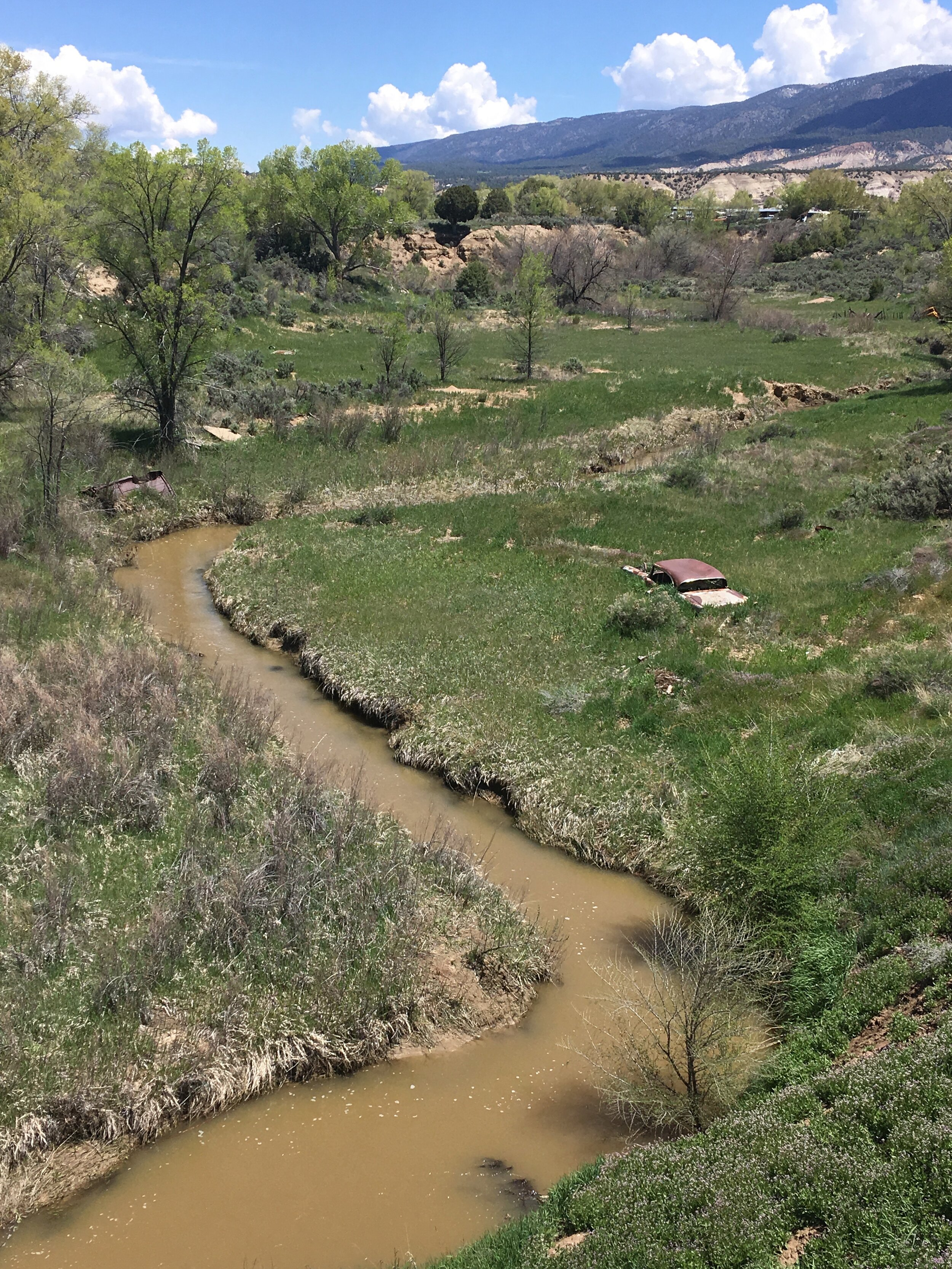 The Rio Puerco River in New Mexico, in 1979 the site of the largest accidental release of radiation in United States history (roughly 3 times as much radiation was released in this accident at a uranium tailings pond as was released in the notorious Three Mile Island Nuclear power plant disaster that same year).  Learn more .