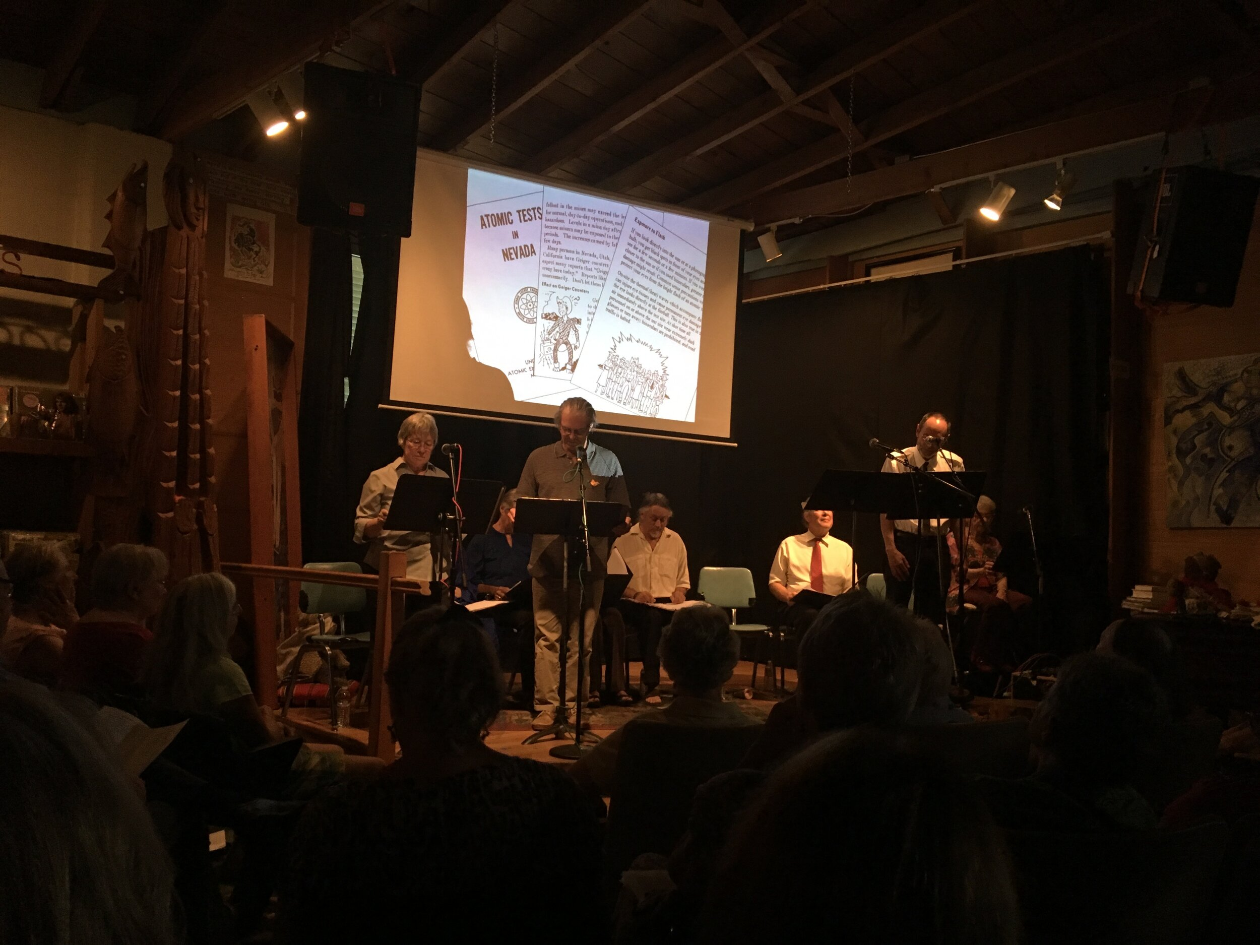 """Eugene, Oregon community reading of """"Exposed,"""" a play by Utah downwinder Mary Dickson, held in commemoration of the 2018 anniversary of the bombings of Hiroshima and Nagasaki. This event was organized by Oregon WAND (Women's Action for New Directions). Learn more about  Mary's play  and  WAND ."""