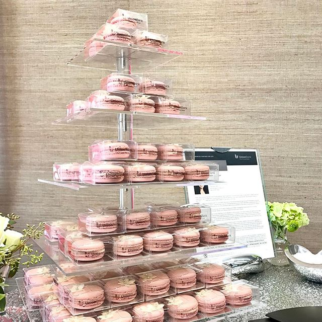 Macaron Favor Tower for The Private Bank at Union Bank #macarontower #macaronfavors #thankyougift #corporatefavors #corporateevent #privatebankevent