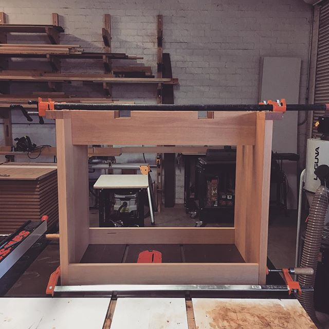 Petite dining table glue up. This thing is so darn cute! Lower rails are just spacers for the glue up and will be removed afterwards