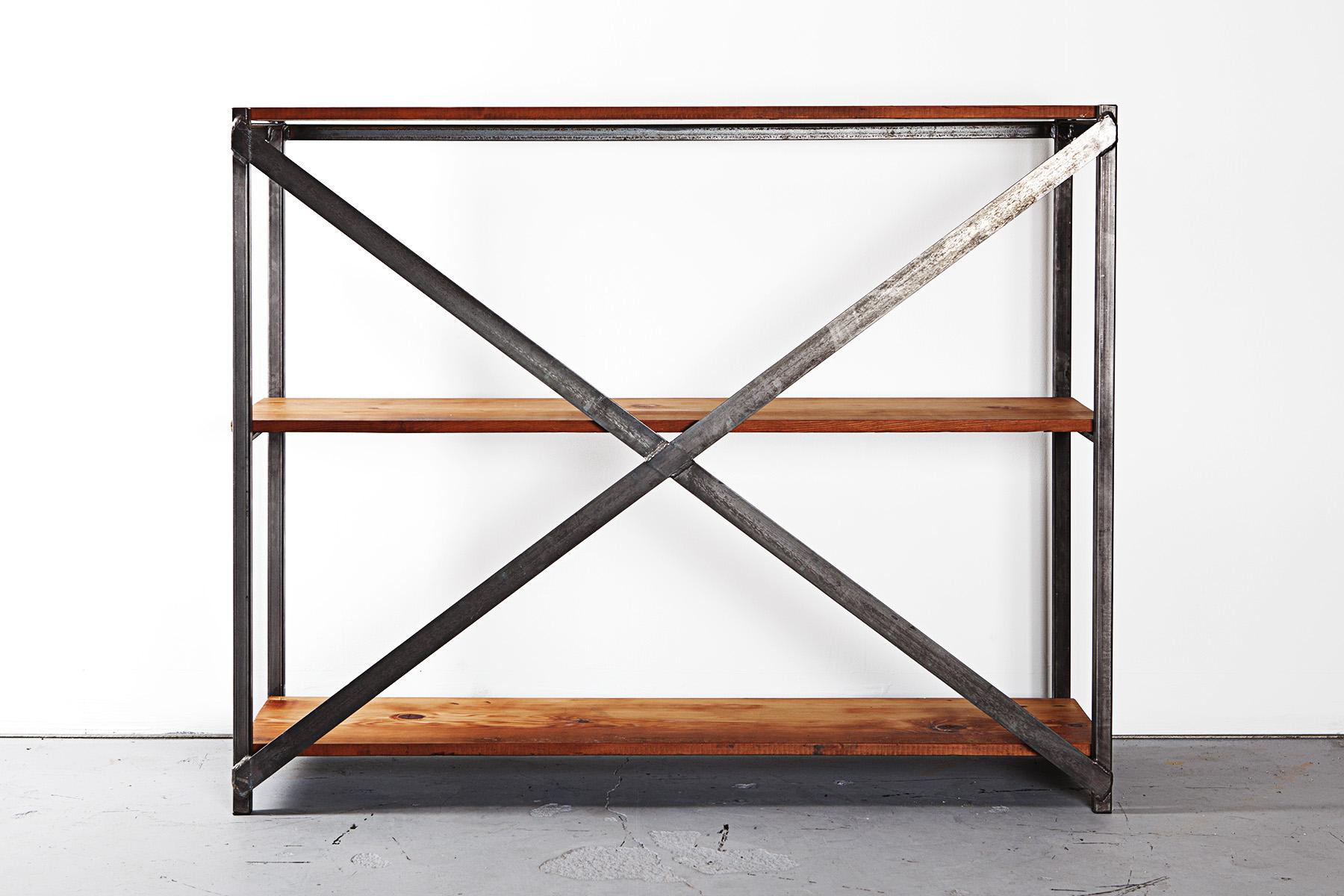 Reclaimed Wood X-Frame Shelf