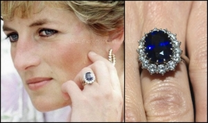 Princess Diana with her 18 carat sapphire and diamond engagement ring. Diana chose this ring for a 'commoners price' of $60,00 in 1981 and now resides on the hand of Duchess Kate.