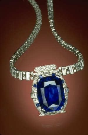The 98.57-carat Bismarck Sapphire is mounted in a platinum necklace designed by Cartier, Inc., set with 312 baguette and round brilliant cut diamonds and accented with 8 square-cut sapphires.  The necklace is named after its donor, Countess Mona von Bismarck, an American socialite who married German Count Eduard von Bismarck in the late 1930s. She donated the necklace to the Smithsonian in 1967, and it is on display in the Gem Gallery at the National Museum of Natural History.